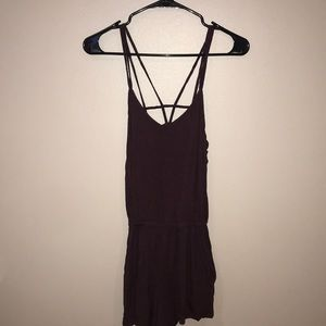 XXS strappy back plum romper by AEO